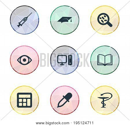 Vector Illustration Set Of Simple Science Icons. Elements Pharmacy, Computer, Syringe And Other Synonyms Pharmacy, Hat And Administration.