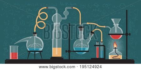 A complex chemical reaction experiment. Composition of glass flasks and laboratory devices. Vector color illustration. Possible reconfiguration.