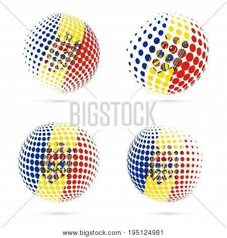 Moldova Halftone Flag Set Patriotic Vector Design. 3D Halftone Sphere In Moldova National Flag Color