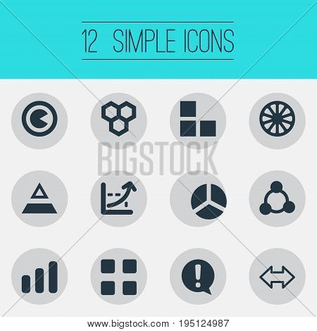 Vector Illustration Set Of Simple Chart Icons. Elements Segmentation, Segment, Reverse Arrows And Other Synonyms Strategy, Segmentation And Round.