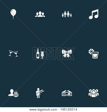 Vector Illustration Set Of Simple Celebration Icons. Elements Decor, Beer, Wineglasses And Other Synonyms Beer, Bottle And Dinner.