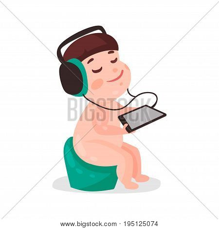 Cute cartoon naked little boy sitting on a pot and listening music with headphones colorful character vector Illustration isolated on a white background