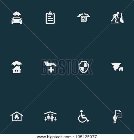 Vector Illustration Set Of Simple Fuse Icons. Elements Tornado, Medical Attendance, Home Protect  From Fire And Other Synonyms Security, Attendance And Car.
