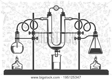 Chemical flasks and hoses in combination with a monometer in a scientific laboratory. Vector black and white illustration. Possible reconfiguration.