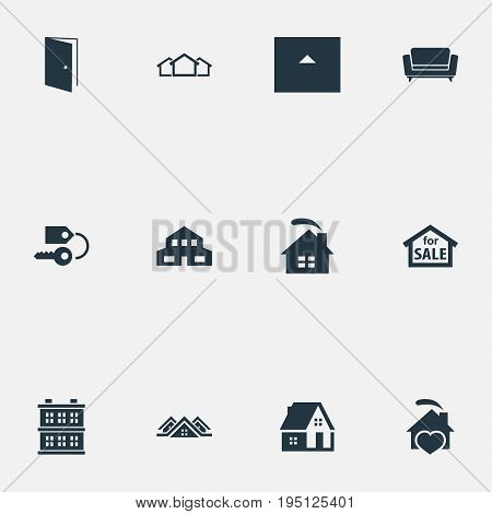 Vector Illustration Set Of Simple Estate Icons. Elements Key, 3 Housings, Structure And Other Synonyms Barn, Architecture And Settee.