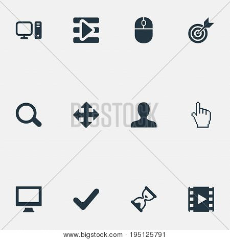 Vector Illustration Set Of Simple Game Icons. Elements Hourglass, Mark, Podcast And Other Synonyms Search, Direction And Personal.