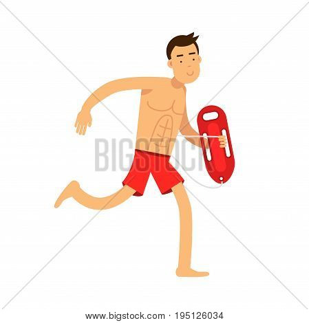 Lifeguard man character on duty running with life preserver buoy vector Illustration isolated on a white background