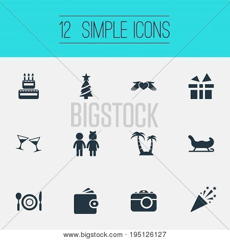 Vector Illustration Set Of Simple Holiday Icons. Elements Supper, Love Protection, Entertainment And Other Synonyms Birthday, Palm And Lunch.