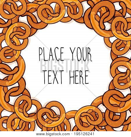 Vector template with many pretzels for fast food business. Cartoon style with text.