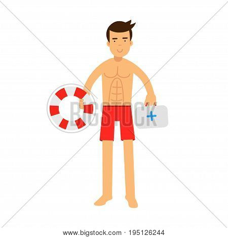 Lifeguard man character on duty holding lifebuoy and first aid kit vector Illustration isolated on a white background
