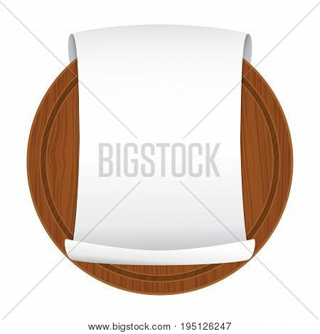 Vector illustration. Wooden cutting board with empty curled blank paper sheet isolated on white background. Parchment scroll. Banner template. Cartoon style