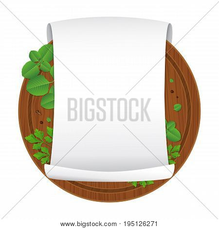 Vector illustration. Wooden cutting board with oregano parsley black pepper cloves and empty curled blank paper sheet isolated on white background. Parchment scroll. Banner template. Cartoon style