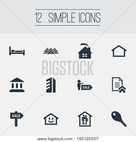 Vector Illustration Set Of Simple Real Icons. Elements Promotion, High-Rise, Family In House And Other Synonyms Protection, Building And Museum.
