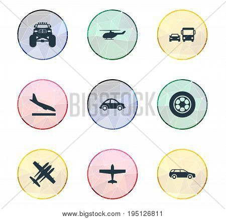 Vector Illustration Set Of Simple Transportation Icons. Elements Military Fighter, Automotive, Carriage And Other Synonyms City, Fighter And Bomber.