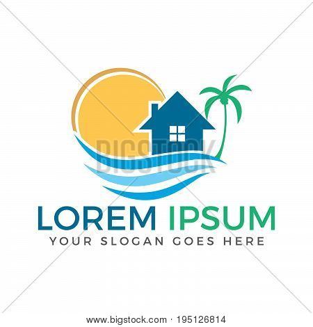 House and the beach with sun and pal tree vector logo design.