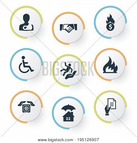 Vector Illustration Set Of Simple Fuse Icons. Elements Slide Down, Handicapped, Contract Synonyms Trauma, Handicapped And Fuse.