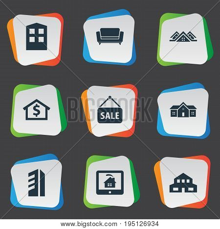 Vector Illustration Set Of Simple Estate Icons. Elements Structure, Advertising, Real Estate Database And Other Synonyms Capital, Domicile And Settee.
