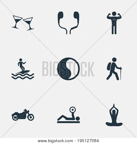 Vector Illustration Set Of Simple Health Icons. Elements Surfer, Gym, Celebration And Other Synonyms Yin-Yang, Alcohol And Sport.