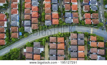 view from above of home village and town street in bangkok thailand