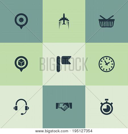 Vector Illustration Set Of Simple Systematization Icons. Elements Supporting, Marker, Retail And Other Synonyms Pin, Buy And Clock.