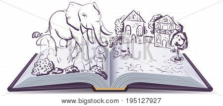 Elephant and Pug story. Illustration open fable book. Vector cartoon drawing