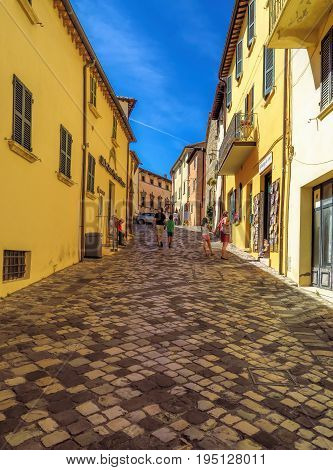 San Leo Italy - June 18 2017: Street of the medieval village. The most beautiful small town in Italy.