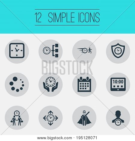 Vector Illustration Set Of Simple Administration Icons. Elements Saving, Direction, Expert And Other Synonyms Businessman, Time And Date.