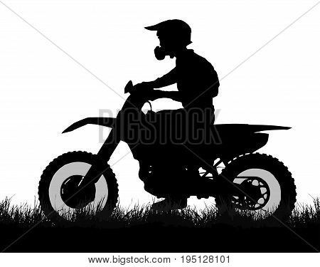 Side Profile Silhouette Of Off Road Biker With Scrambler