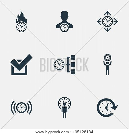 Vector Illustration Set Of Simple Management Icons. Elements Limits, Time Management, Director And Other Synonyms Yes, Velocity And Deadline.