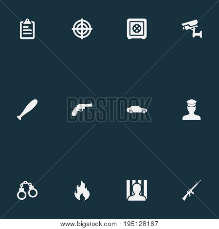 Vector Illustration Set Of Simple Offense Icons. Elements Drive, Baseball Bat, Checklist And Other Synonyms Crime, Drive And Alarm.