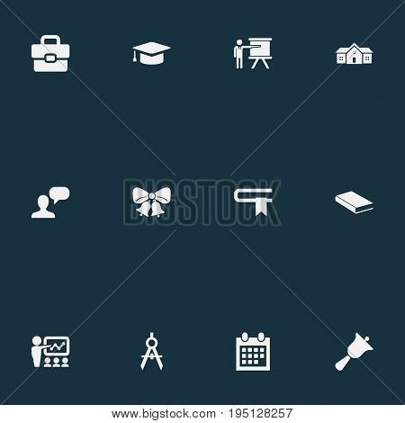 Vector Illustration Set Of Simple School Icons. Elements Lecture, Christmas Ornaments, Devider And Other Synonyms Suitcase, Speech And Bookshop.