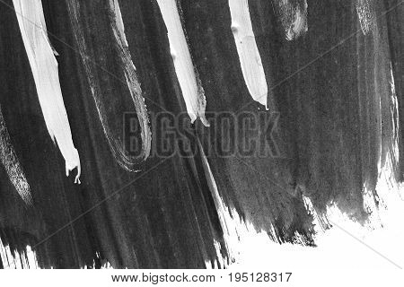 VERY hight resolution. Geometric graffiti abstract background. Wallpaper with oil canvas stroke effect. Black acrylic paint stroke texture on white paper. Scattered art. Macro image. Hand made grunge