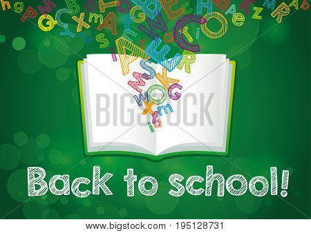 Back to School ABC book banner. Hand Drawn
