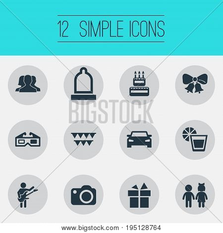Vector Illustration Set Of Simple Banquet Icons. Elements Surprise, Guitar Player, Mates And Other Synonyms Photo, Donation And Gift.