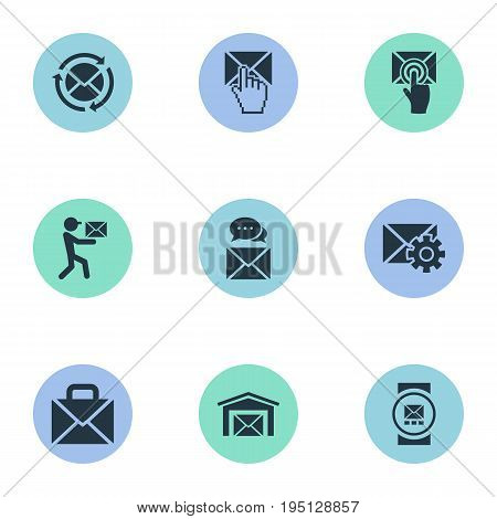 Vector Illustration Set Of Simple Mailing Icons. Elements Post Office, Choose, Mailman And Other Synonyms Communication, Document And Tuning.