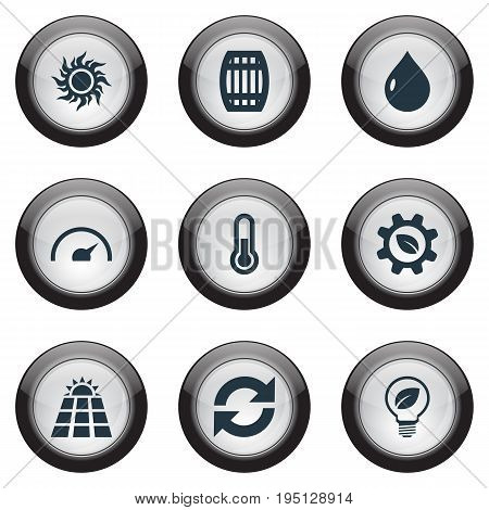 Vector Illustration Set Of Simple Ecology Icons. Elements Sun Power, Fahrenheit, Reuse And Other Synonyms Gauge, Photocell And Panel.