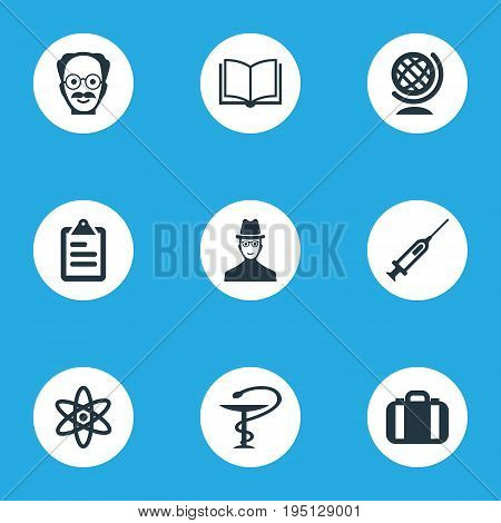 Vector Illustration Set Of Simple Study Icons. Elements Researcher, Scholar, Atom And Other Synonyms Professor, Chemical And Researcher.