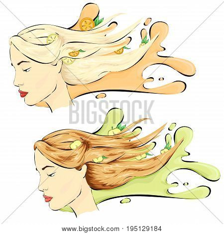 Healthy hair, hair care shampoo two variants blondie and brown-haired
