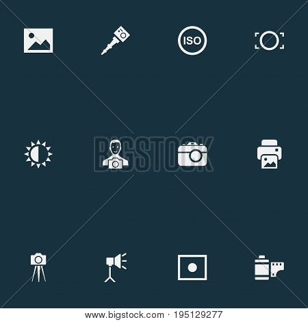 Vector Illustration Set Of Simple Photographic Icons. Elements Registration, Inkjet, Brilliance And Other Synonyms Photographing, Noise And Rim.