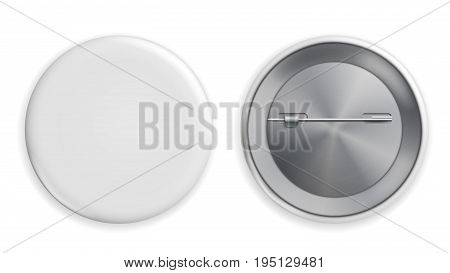 Blank White Badge Vector. Realistic Illustration. Clean Empty Pin Button Isolated.