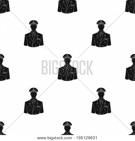 Pilot.Professions single icon in black style vector symbol stock illustration .