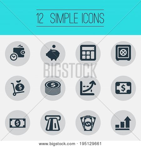 Vector Illustration Set Of Simple Bill Icons. Elements Dollar, Accounting, Terminal And Other Synonyms Pig, Salary And Moneybox.