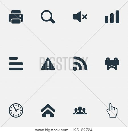 Vector Illustration Set Of Simple Interface Icons. Elements Network, Printer, Team And Other Synonyms Bar, Attention And Construction.