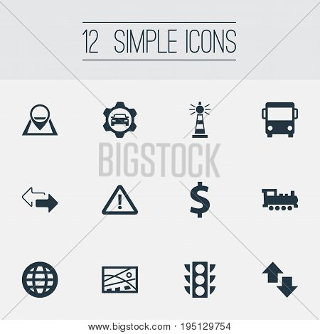 Vector Illustration Set Of Simple Transportation Icons. Elements Reverse Directions, Retro Locomotive, International And Other Synonyms Rail, Auto And Lighthouse.