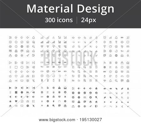 300 material design icons. Arrows, user interface, contact, etc. Icons for mobile or site interface, editable stroke, 24px