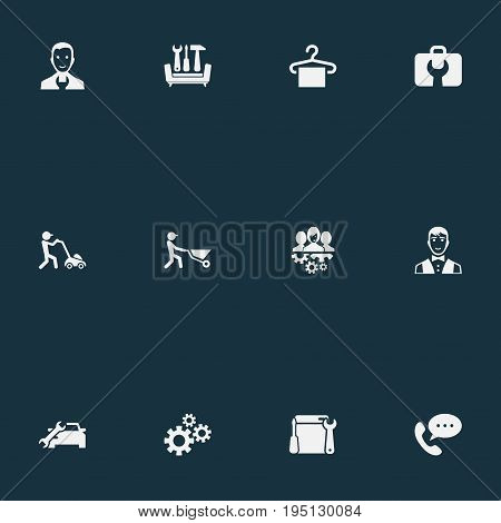 Vector Illustration Set Of Simple Service Icons. Elements Hanger, Servant, Automobile Salon And Other Synonyms Gardening, Washing And Industry.