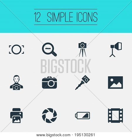 Vector Illustration Set Of Simple Photography Icons. Elements Inkjet, Flame Instrument, Movable Camcorder And Other Synonyms Lens, Instrument And Photographing.