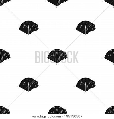 Tent tourist with awning.Tent single icon in black style vector symbol stock illustration .