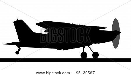 Side Profile Silhouette Of Landing X328 Atlas Angel Turbine Skydiving Equipped Aircraft