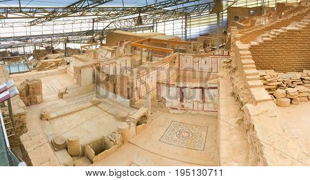 Panorama of Roman stone terraced houses room with decorated walls in ephesus Archaeological site in turkey